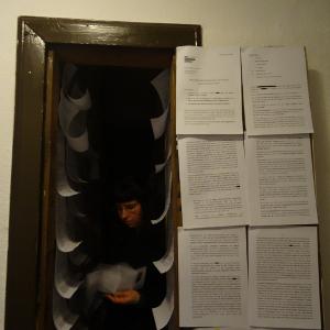 Die offene Tür zu einer winzigen Abstellkammer. Tür und Wände sind mit bedrucktem Papier behangen. Bild verlinkt zu Arbeit 8.
