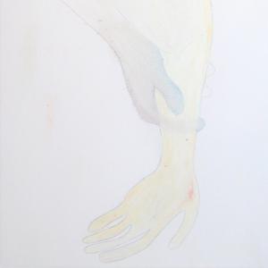 Bleistift und Ölpastell auf Papier. Zwei Arme und Hände, die sich sanft streicheln. Bild verlinkt zu den Arbeiten 9-12.