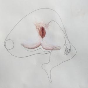 Bleistift und Ölpastell auf Papier. Eine breitbeinig sitzende Form, die einem menschlichen Unterkörper mit Arm ähnelt. Die Figur hat eine in rot und weißtönen ausgemalte Vulva. Bild verlinkt zu den Arbeiten 13 bis 16.