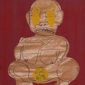 Siebdruck auf Packpapier. als schwarzer Strich: die Zeichnung einer gebärenden Person. Die Augen und das Baby sind gelb überdruckt. Der Hintergrund in rottönen.
